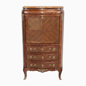 Vintage Louis XV Style Rosewood and Marble Secretaire