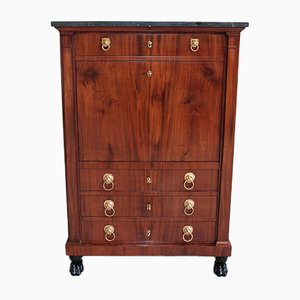 19th Century Mahogany and Marble Secretaire
