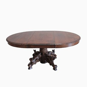 Vintage Louis XIII Style Oak Hunting Table
