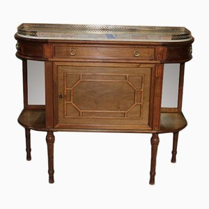 Vintage Louis XVI Style Walnut, Marble, and Brass Side Table