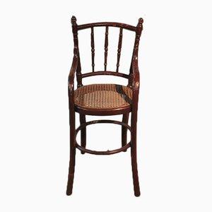Vintage Kinderstuhl mit Gestell aus Buche & Schilfrohrgeflecht