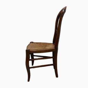 Antiker Louis Philippe Kinderstuhl mit Gestell aus Kirschholz & Strohgeflecht