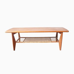 Mid-Century Danish Teak and Rattan Coffee Table