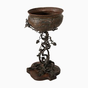 Vase Ancien et son Support en Fer, Cuivre et Verre