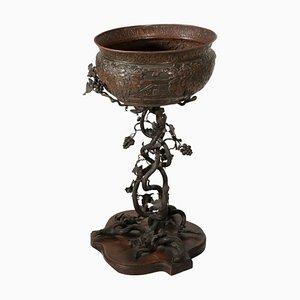 Vaso antico in ferro, rame e ciliegio