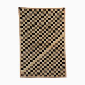 Karierter Teppich mit niedrigem Flor, 1980er