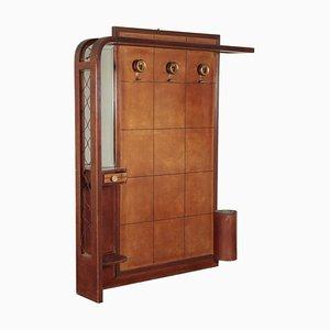Garderobe aus Buche mit Spiegel, 1930er