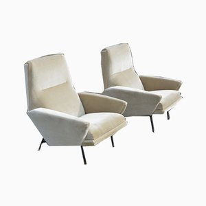 Velvet Lounge Chairs by Guy Besnard, 1960s, Set of 2
