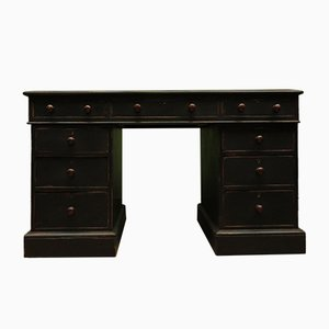 Antique Black Painted Pedestal Desk