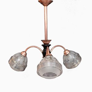 Copper & Glass Ceiling Lamp, 1950s