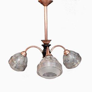 Lámpara de techo de vidrio y cobre, años 50