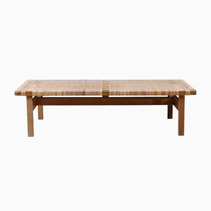 Mid-Century Oak and Rattan Model 5275 Bench by Børge Mogensen for Fredericia