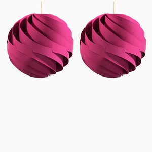 Pink TURBO 1 Ceiling Lamps by Louis Weisdorf for Lyfa, 1960s, Set of 2