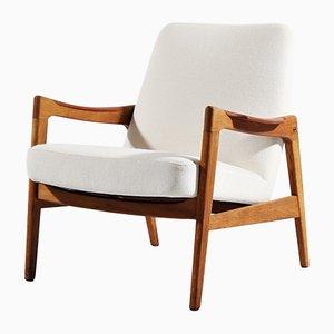 Dänischer Sessel mit Gestell aus Eiche & Teak, 1950er