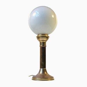 Vintage Tischlampe aus Opalglas & Messing im skandinavischen Stil, 1970er