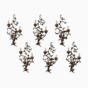 Antique Gilded Iron Sconces, Set of 6