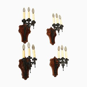 Vintage Iron and Walnut Sconces, Set of 4