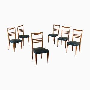 Chaises de Salle à Manger Mid-Century en Skaï, Italie, Set de 6