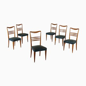 Mid-Century Italian Leatherette Dining Chairs, Set of 6