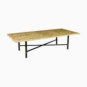 Table Basse Ancienne avec Plateau en Marbre
