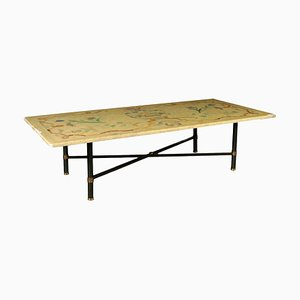 Tavolino da caffè antico con ripiano in marmo