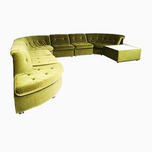Sofá modular vintage de terciopelo verde, años 60