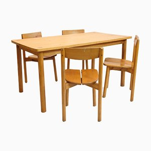 Vintage Dining Table & 4 Chairs Set by Pierre Gautier Delaye, 1950s