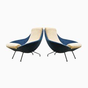 Eisblaue Vintage Samtsessel, 1950er, 2er Set