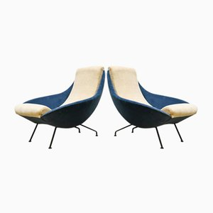 Vintage Ice Blue Velvet Lounge Chairs, 1950s, Set of 2