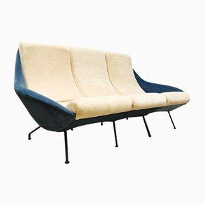 Canapé Vintage en Velours Bleu Glacé, années 50