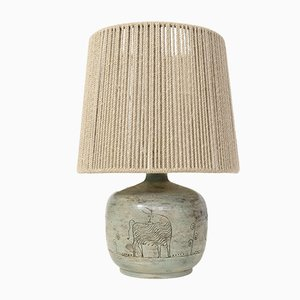 Vintage Green Enamel Table Lamp by Jacques Blin, 1950s