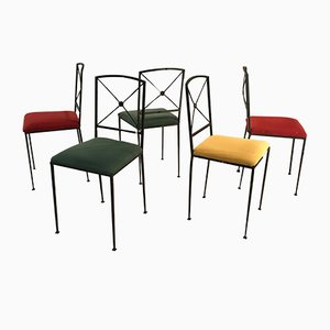 Vintage Art Deco French Iron Dining Chairs, 1950s, Set of 5