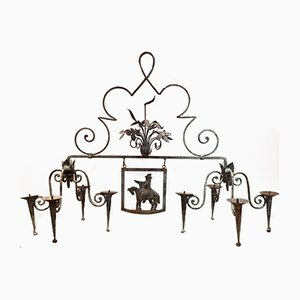 French Wrought Iron Chandeliers, 1920s, Set of 2