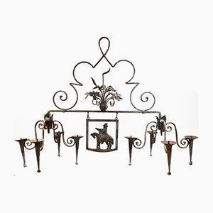 Lámparas de araña francesas de hierro forjado, años 20. Juego de 2