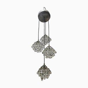Lámpara de techo Mid-Century de vidrio y acero de Zeroquattro, años 50