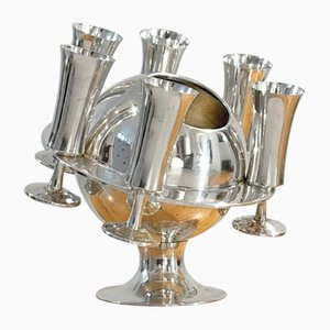 French Silver-Plated Champagne Bucket and Glass Set, 1970s, Set of 6