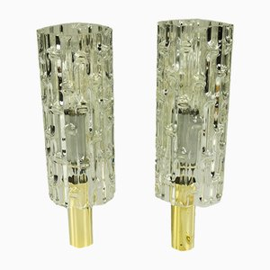 Glass and Brass Sconces from Doria Leuchten, 1960s, Set of 2