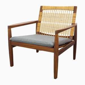 Danish Teak and Cane Armchair by Hans Olsen for Juul Kristensen, 1960s