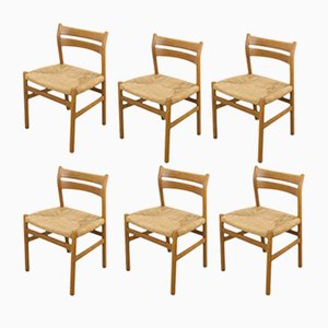 Model BMI Oak Dining Chairs by Børge Mogensen for C.M. Madsen, 1960s, Set of 6