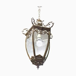 Lámpara de techo vintage de bronce dorado, años 20