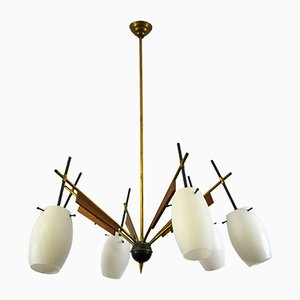 Italian Brass, Wood, and Glass Pendant Lamp from Stilnovo, 1950s