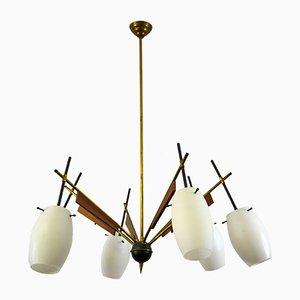 Italienische Hängelampe aus Messing, Holz & Glas von Stilnovo, 1950er