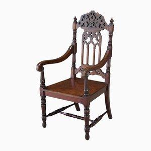 Chaise de Salon Ancienne Style Gothique en Acajou