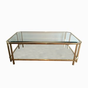 French Octagonal Brass Coffee Table, 1970s