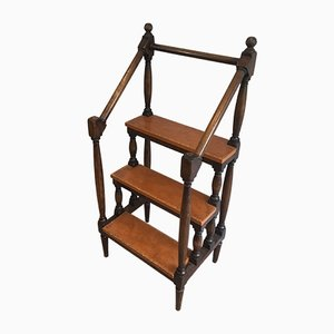 Antique French Wood and Leather Library Step Ladder, 1900s