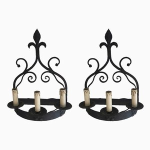 French Wrought Iron Sconces, 1950s, Set of 2
