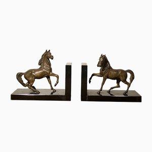 Antike Buchstützen aus Bronze & Marmor in Pferde-Optik