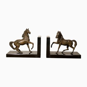 Antique Bronze and Marble Horse Bookends