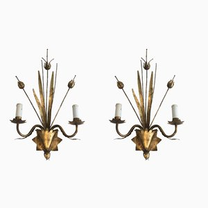 French Gilt Metal Sconces, 1970s, Set of 2