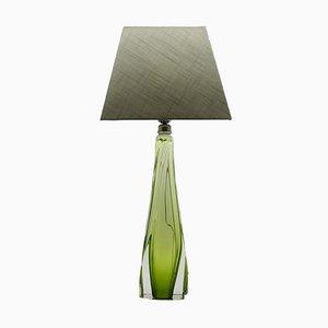 Lámpara de mesa vintage de cristal de Val Saint Lambert